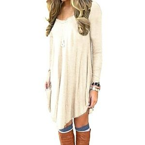 🆕⭐ Cream beige v-neck t-shirt dress⭐